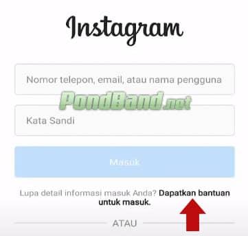 lupa password instagram dan email