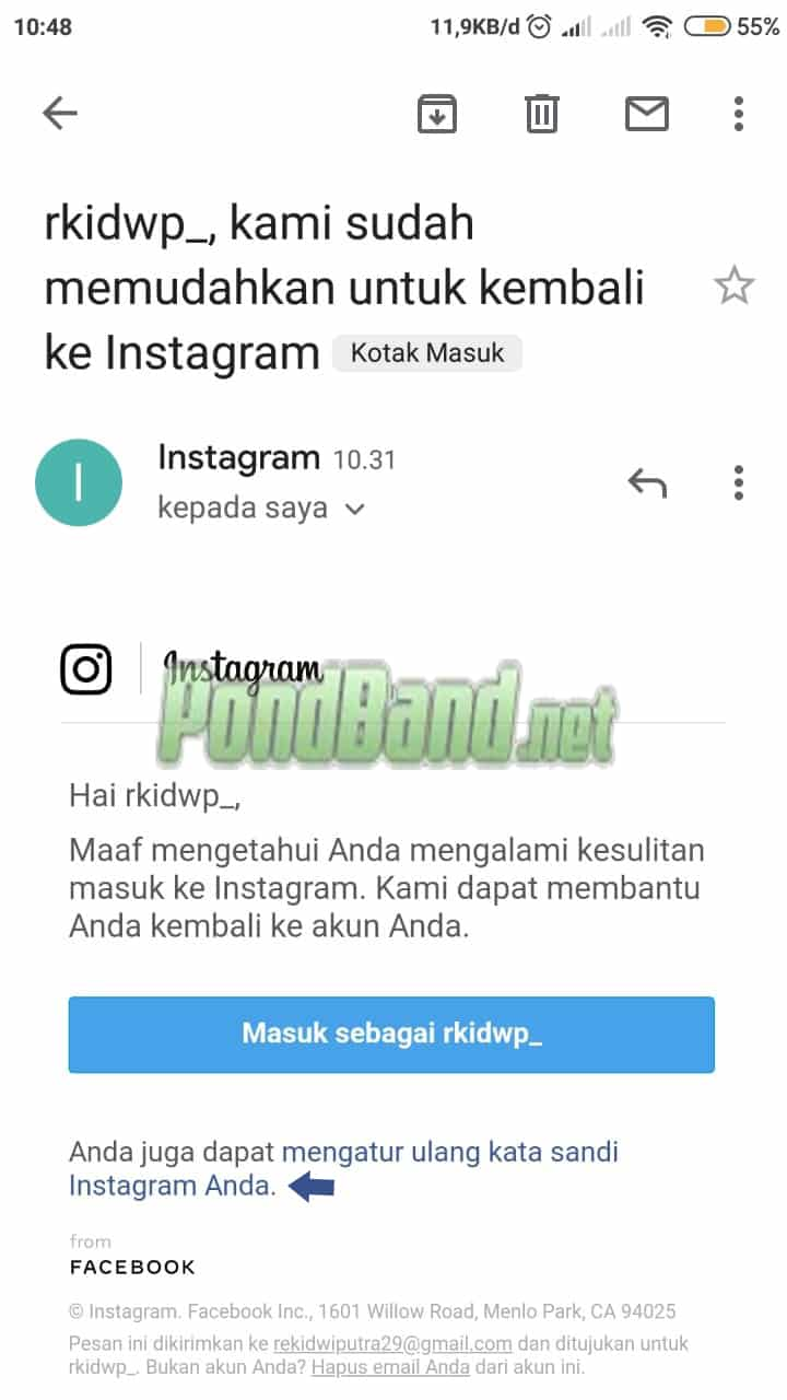 cara log in lupa password instagram