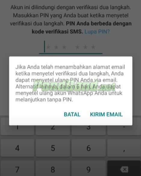 Berikutnya Anda bisa memilih Kirim Email dan kemudian cek email