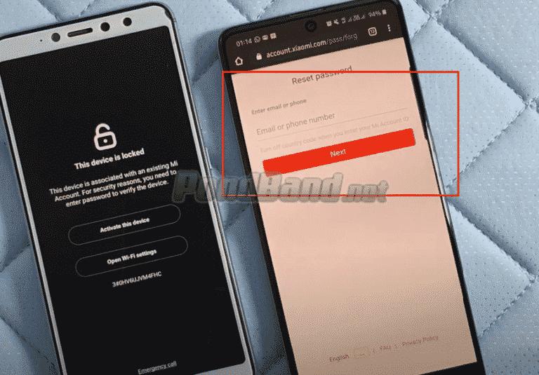 Berikutnya, Anda harus memasukkan email atau nomor telepon yang pernah didaftarkan ke Mi Account Xiaomi