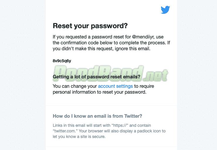 Cek email, Twitter akan mengirimkan kode verifikasi.
