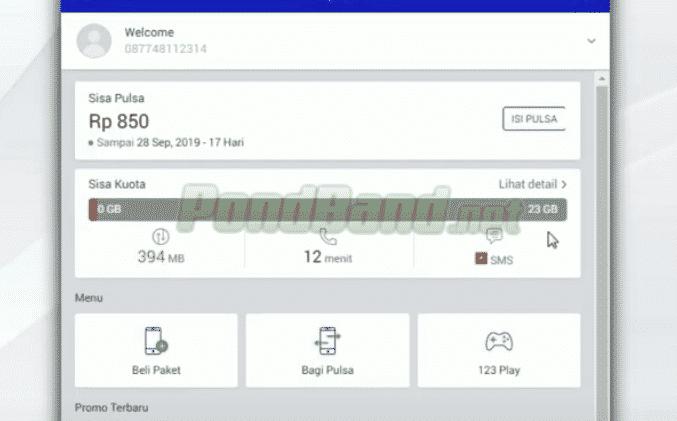"""Informasi sisa kuota internet Anda terletak pada menu yang bertuliskan """"Sisa Kuota"""". Jika ingin melihat keterangan lebih lanjut tentang sisa kuota, bisa menekan """"Lihat Detail""""."""