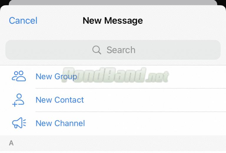 Klik ikon pencarian dan ketikkan kontak yang dibutuhkan