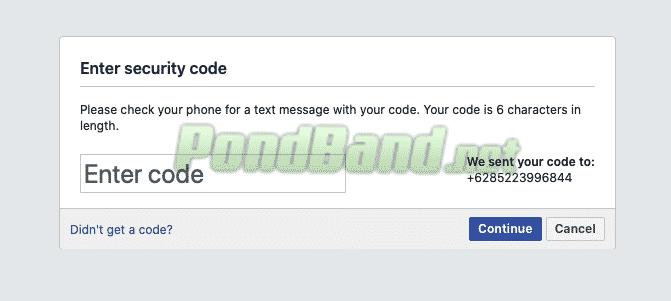 Masukan kode verifikasi dibagian halaman baru yang muncul. Kode tersebut berisi 6 digit
