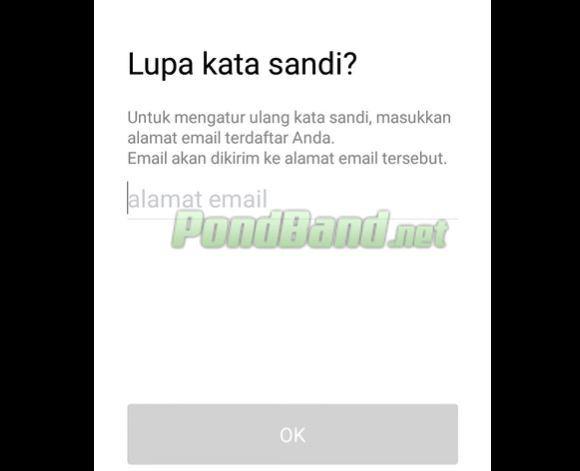 Masukkan alamat email lalu ketuk menu Oke agar bisa menerima pesan panduan pengaturan untuk password Line