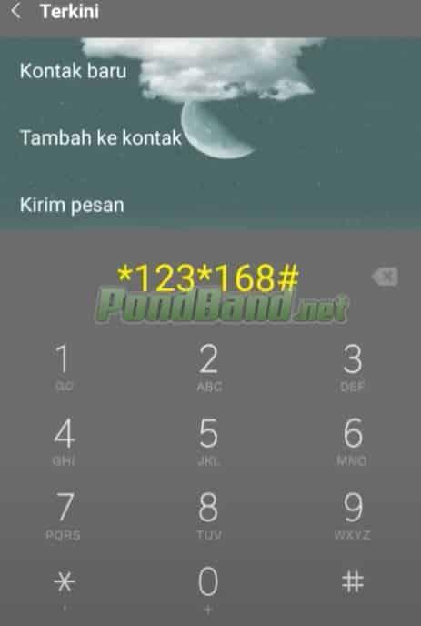 Masukkan dial 123 168