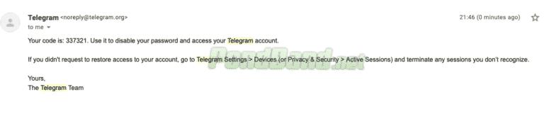 Otomatis, kode keamanan verifikasi kedua langsung dimatikan dan Anda bisa masuk ke Telegram lagi
