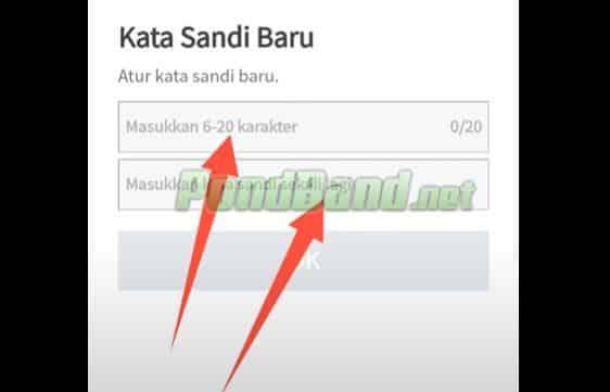 Pengguna diminta untuk memasukkan password baru terdiri dari 6 sampai 20 karakter.