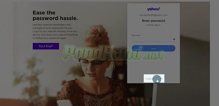 Setelah itu, Anda akan diminta password Yahoo, jangan di isi, tapi klik saja tulisan 'Lupa Password' atau 'Forgot Password'