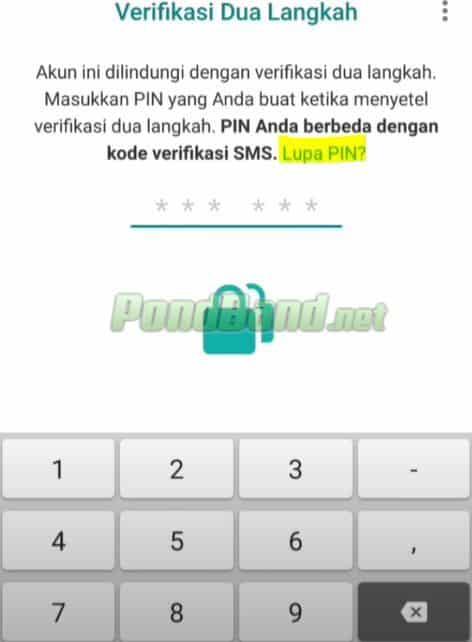 Setelah memasukkan nomor, Anda bisa memasukkan PIN verifikasi dua langkah