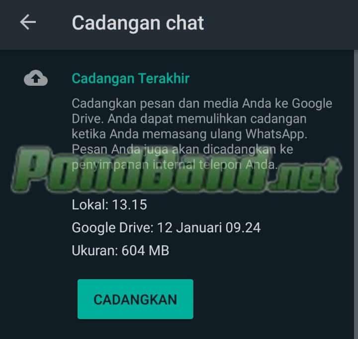 Cara Backup Data WA di Android