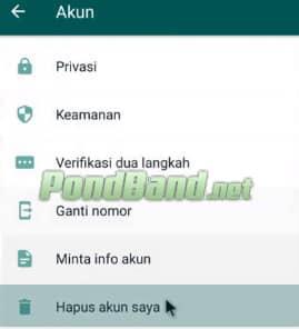Cara Menghapus Akun WhatsApp simpel