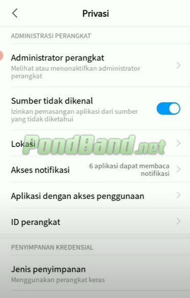 Carilah opsi instal aplikasi dari sumber tidak dikenal dan aktifkan pilihan tersebut