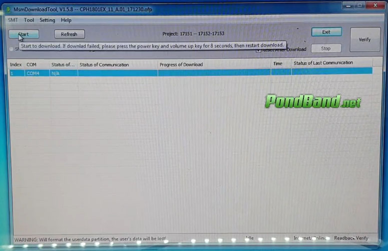 start Cara Flash OPPO A71